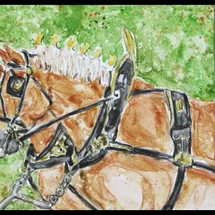 Art: Impression of Draft Horses by Artist Melinda Dalke