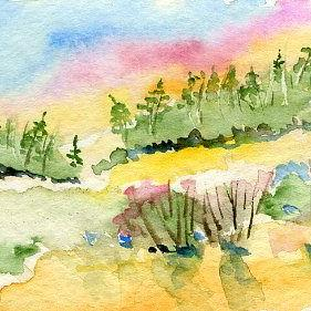 Art: Bright Sky ACEO watercolor by Artist Hannah Clements