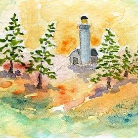 Art: Lighthouse ACEO watercolor by Artist Hannah Clements