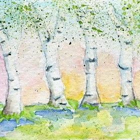 Art: Summer Birches ACEO watercolor by Artist Hannah Clements