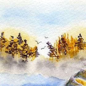 Art: Morning Flight ACEO watercolor by Artist Hannah Clements