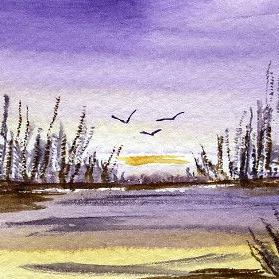 Art: Flying In ACEO watercolor by Artist Hannah Clements