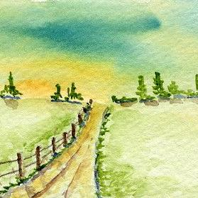 Art: Farm Road ACEO watercolor by Artist Hannah Clements