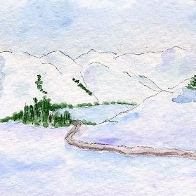 Art: Winter Mountains ACEO watercolor by Artist Hannah Clements