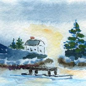 Art: By the Inlet ACEO watercolor by Artist Hannah Clements