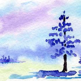 Art: Winter Pine ACEO watercolor by Artist Hannah Clements
