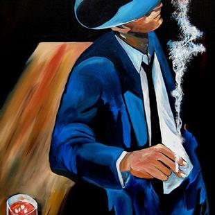 Art: Faces1153 2436 Original Abstract Art Painting Blue Suit by Artist Thomas C. Fedro