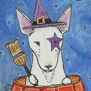 Art: Witchy Star Bull Terrier by Artist Melinda Dalke