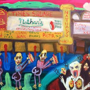 Art: Beautiful Sinners Of New York City: Nathan's Hot Dogs by Artist Elisa Vegliante