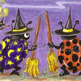 Art: Halloween Witch Lady Bugs Flight School SOLD by Artist Kim Loberg
