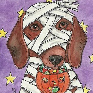 Art: Doxie Mummy by Artist Melinda Dalke