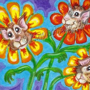 Art: Retro Crazy Guinea Pig Daisies - SOLD by Artist Kim Loberg