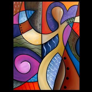 Art: Cubist 116 3040 Original Cubist Art Whats On Your Mind by Artist Thomas C. Fedro