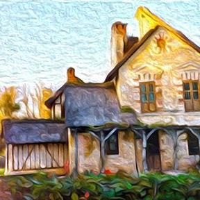 Art: Cottage in the French Countryside by Artist Alma Lee