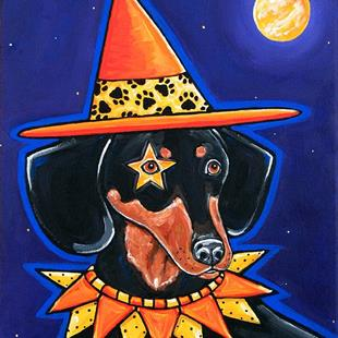 Art: Midnight Howl-O-Weiner Witch by Artist Melinda Dalke