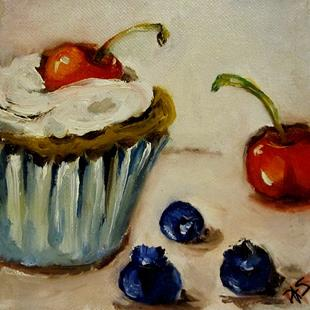 Art: Red White and Blue Cupcake by Artist Delilah Smith