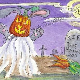 Art: The Ghost of Punkin Head Boo Bunny on All Hallows Eve by Artist Kim Loberg