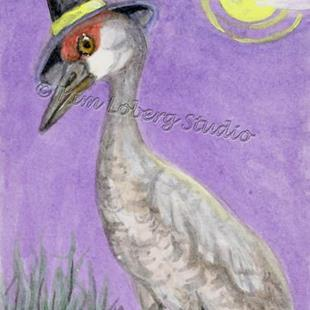 Art: Sanguine, the Witchy Sandhills Crane by Artist Kim Loberg