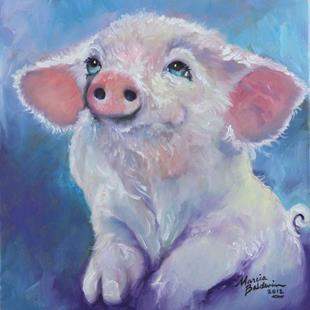 Art: FEED ME ~ little Pink Piglet by Artist Marcia Baldwin