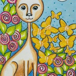 Art: Miss Kitty Loves Butterflies-Sold by Artist Sherry Key