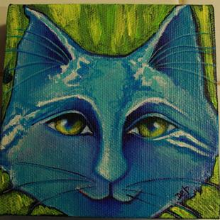 Art: Blue Cat III by Artist Deb Harvey