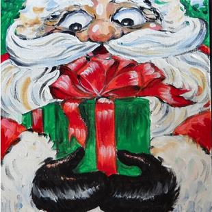 Art: Happy Christmas Santa with wrapped gift by Artist Pamela K Wilhelm