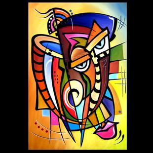 Art: Cubist 119 2436 Original Cubist Art Scratching Post by Artist Thomas C. Fedro
