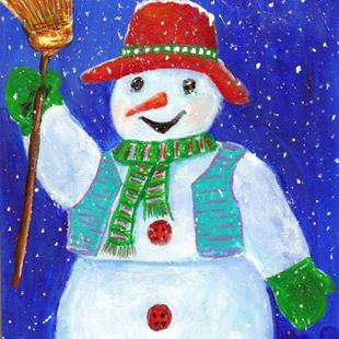 Art: Cheerful Snowman by Artist Ulrike 'Ricky' Martin