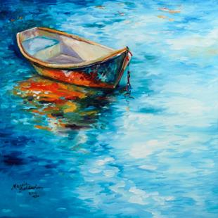 Art: PEACE & CALM WATER LANDSCAPE BOAT REFLECTIONS by Artist Marcia Baldwin