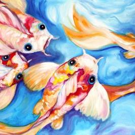 Art: KOI DREAMERS II COMMISSIONED OIL by Artist Marcia Baldwin