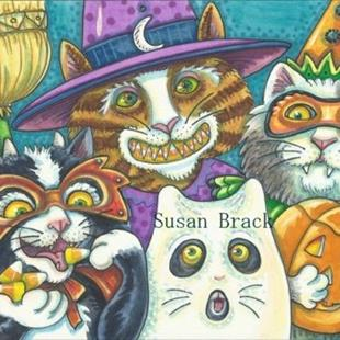 Art: TRICK OR TREAT SMELL OUR FEET GIVE US SOMETHING GOOD TO EAT by Artist Susan Brack