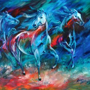Art: EQUUS MOONLIGHT RUN by Artist Marcia Baldwin