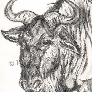Art: Charcoal Gnu by Artist Kim Loberg