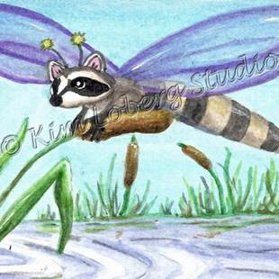 Art: Raccoon Dragonfly Chillin on a Cattail - SOLD by Artist Kim Loberg