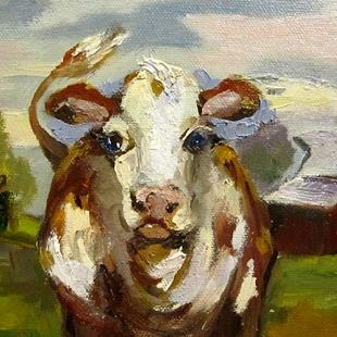 Art: Big Eyed Cow SOLD by Artist Delilah Smith
