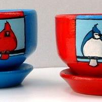 Art: Cardinal & Blue Jay Planters by Artist Cary Dunlap Daly