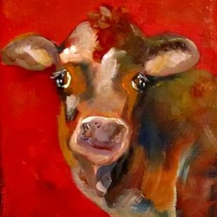Art: Cow on Red by Artist Delilah Smith