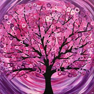 Art: 'Raspberry Ripple' Abstract Tree Painting by Artist Louise Mead