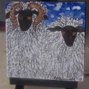 Art: Curly Sheep Duo SOLD by Artist Nancy Denommee