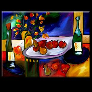Art: Wine 106 3040 Original Abstract Art Placement Is Key by Artist Thomas C. Fedro