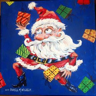 Art: Juggling Santa Claus with his Christmas Gifts by Artist Pamela K Wilhelm