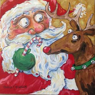 Art: Candy Cane Santa and Rudolph Christmas Whimsical by Artist Pamela K Wilhelm