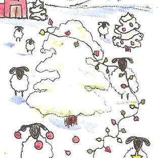 Art: Sheep Decorating Every Tree on the Farm by Artist Nancy Denommee