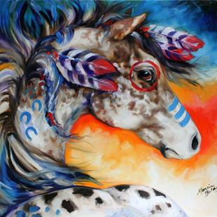 Art: APPALOOSA INDIAN WAR HORSE by Artist Marcia Baldwin