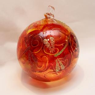 Art: 2012 Dragonfly Ball Orange Swirls #3 of 24 by Artist Rebecca M Ronesi-Gutierrez