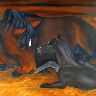 Art: First Meeting  (SOLD) by Artist Monique Morin Matson