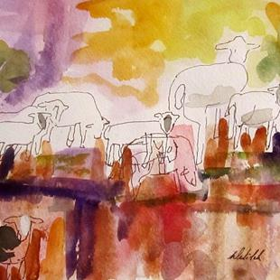 Art: Abstract Sheep-SOLD by Artist Delilah Smith