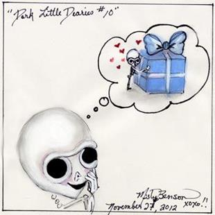 Art: Dark Little Dearies #10 - Skeleton Cartoon Art by Artist Misty Monster (Benson)