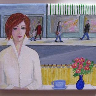 Art: Coffee with Carol (Sold) by Artist Fran Caldwell