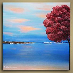 Art: Pink Tree and Ocean by Artist Elena Feliciano